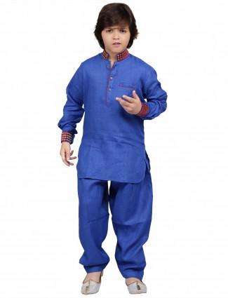 G3 Exclusive cotton blue plain party wear Pathani Suit