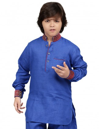 G3 Exclusive cotton blue plain party wear Short Pathani