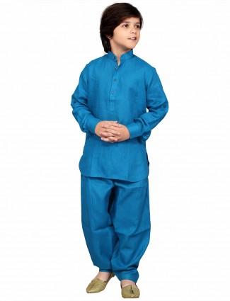 G3 Exclusive cotton blue simple cotton plain Pathani Suit