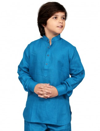G3 Exclusive cotton blue simple cotton plain Short Pathani