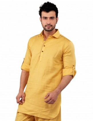 G3 Exclusive cotton festive wear solid yellow Short Pathani