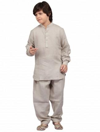 G3 Exclusive cotton grey plain festive wear Pathani Suit