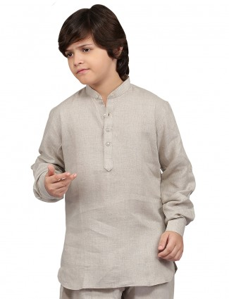 G3 Exclusive cotton grey plain festive wear Short Pathani