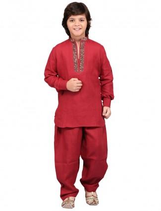 G3 Exclusive cotton linen festive wear red Pathani Suit