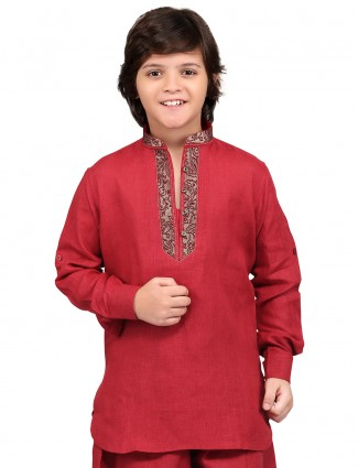 G3 Exclusive cotton linen festive wear red Short Pathani