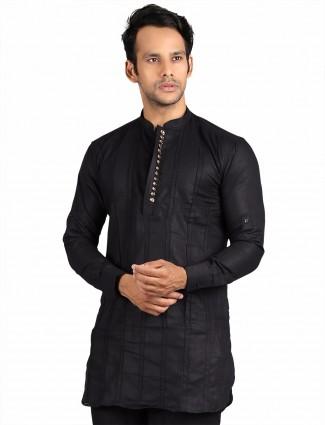 G3 Exclusive cotton party wear black plain Short Pathani