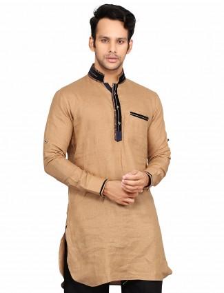 G3 Exclusive cotton plain light brown festive wear Short Pathani