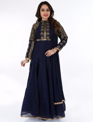 G3 Exclusive cotton ready made party wear navy anarkali suit