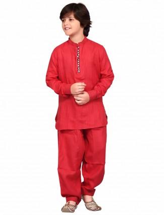 G3 Exclusive cotton red plain festive wear Pathani Suit