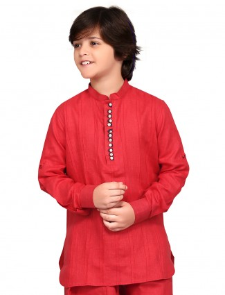 G3 Exclusive cotton red plain festive wear Short Pathani