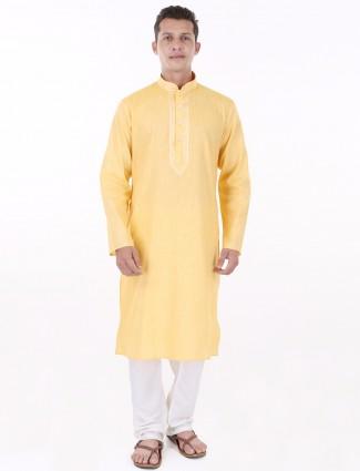 G3 Exclusive cotton silk yellow festive Kurta Suit