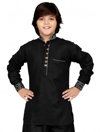 G3 Exclusive cotton solid party wear black Short Pathani