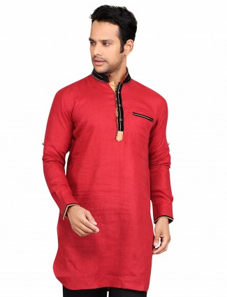 G3 Exclusive cotton solid red festive wear Short Pathani
