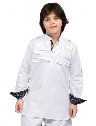 G3 Exclusive cotton solid white festive wear Short Pathani