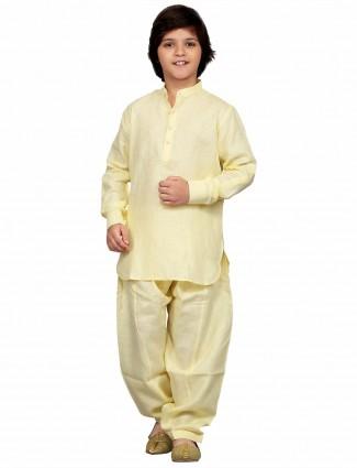 G3 Exclusive cotton yellow plain festive wear simple Pathani Suit