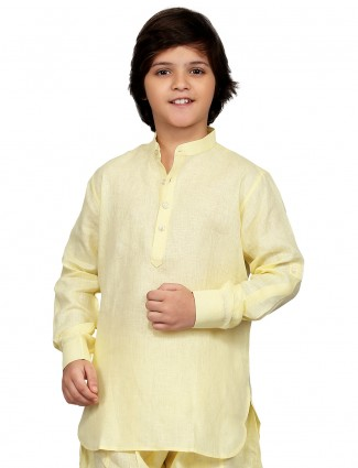 G3 Exclusive cotton yellow plain festive wear simple Short Pathani