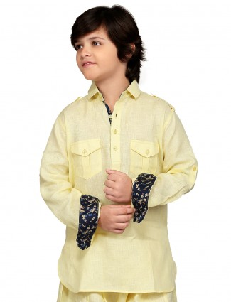 G3 Exclusive cotton yellow solid festive wear Short Pathani