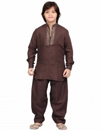G3 Exclusive dark brown cotton plain party wear Pathani Suit