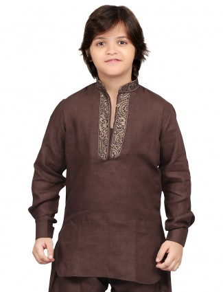 G3 Exclusive dark brown cotton plain party wear Short Pathani