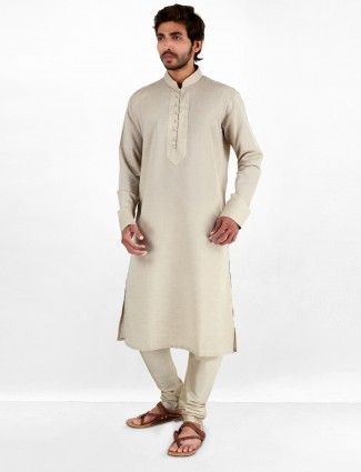 G3 Exclusive designer linen wedding wear beige men kurta suit