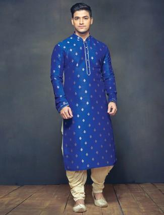 G3 Exclusive festive wear blue raw silk men kurta suit