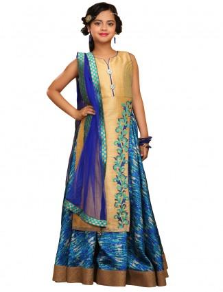 G3 Exclusive gold blue raw silk lehenga cum salwar suit