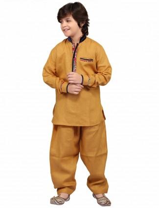 G3 Exclusive gold cotton plain festive wear Pathani Suit