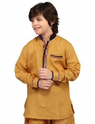 G3 Exclusive gold cotton plain festive wear Short Pathani