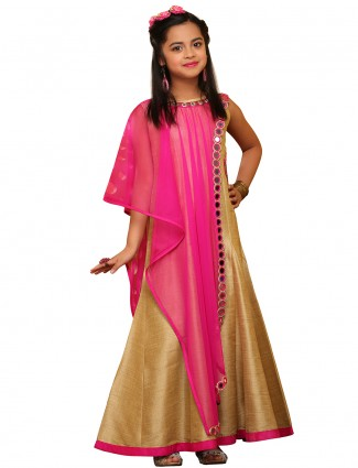 G3 Exclusive gold magenta raw silk party wear gown
