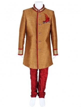G3 Exclusive gold wedding wear silk boys indo western