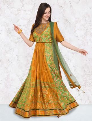 G3 Exclusive green hue cotton silk floor length anarkali suit