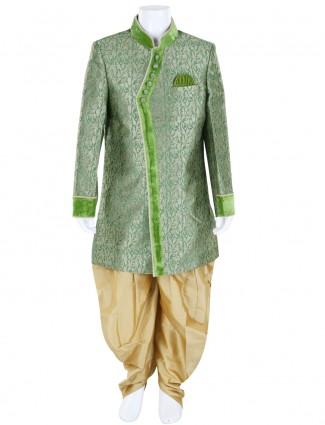 G3 Exclusive green wedding wear jamawar boys indo western