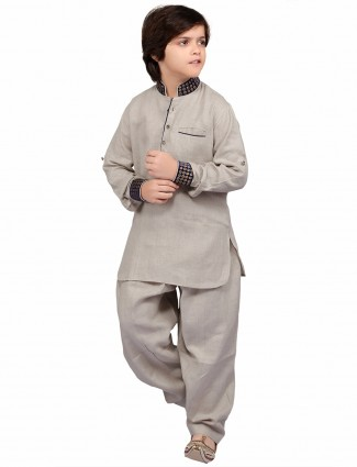 G3 Exclusive grey cotton solid party wear Pathani Suit