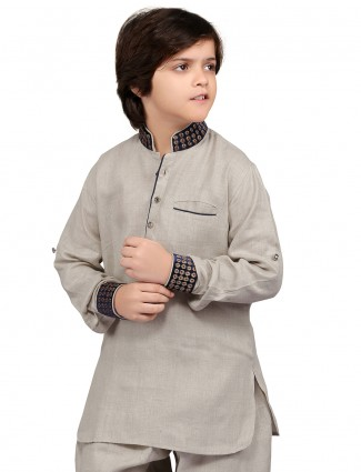 G3 Exclusive grey cotton solid party wear Short Pathani