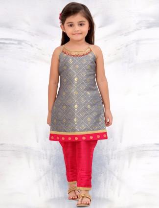 G3 Exclusive grey festive wear raw silk salwar suit
