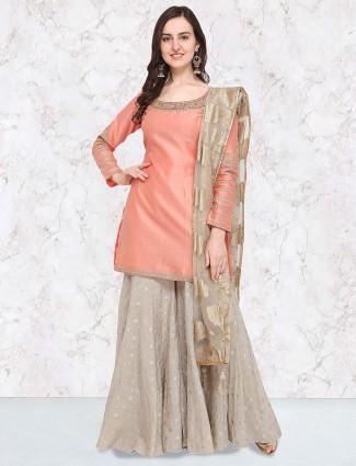 G3 Exclusive grey hue cotton silk punjabi palazzo suit in cotton silk