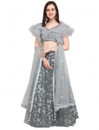 G3 Exclusive Grey hue tissue silk lehenga choli
