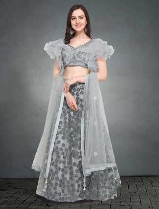 G3 Exclusive Grey hue tissue silk lehenga choli