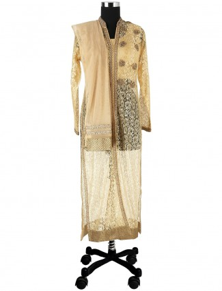 G3 Exclusive jacquard net beige readymade salwar suit