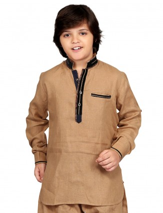 G3 Exclusive khaki cotton plain festive wear Short Pathani