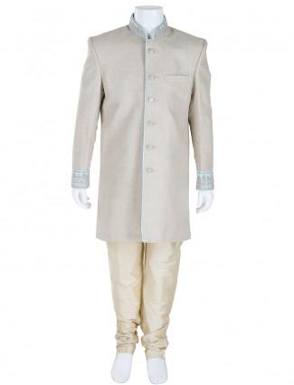 G3 Exclusive linen plain grey boys wedding wear Indo Western