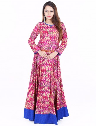 G3 Exclusive magenta printed cotton festive wear long anarkali kurti