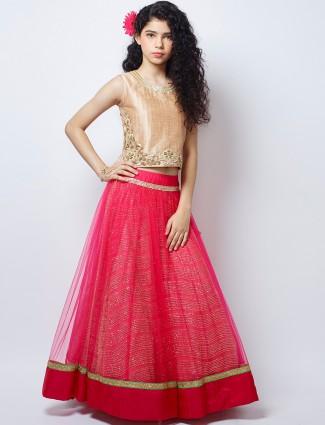 G3 Exclusive magenta wedding wear net lehenga choli