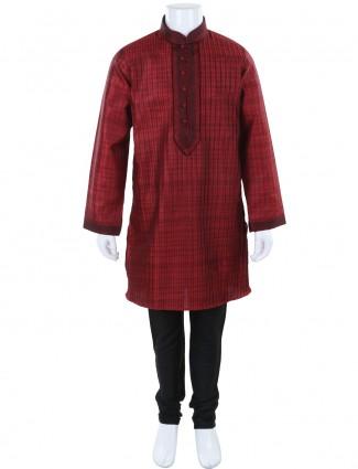 G3 Exclusive maroon cotton silk festive wear solid kurta suit