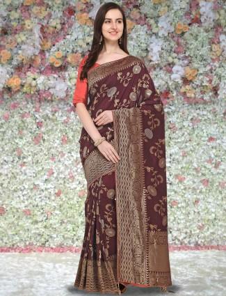 G3 Exclusive maroon hue banarasi silk saree
