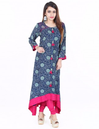 G3 Exclusive navy blue printed cotton festive wear kurti