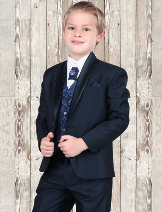 G3 Exclusive navy cotton terry rayon coat suit for boys