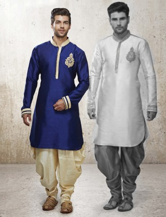 G3 Exclusive navy designer silk men kurta suit