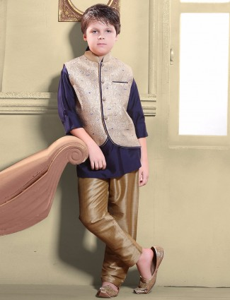 G3 Exclusive navy silk party wear waistcoat set