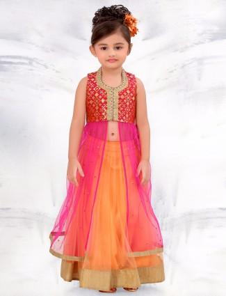 G3 Exclusive net orange wedding wear lehenga choli